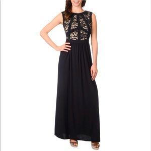 R&M Richards Lace Mapped-Bodice Long Dress